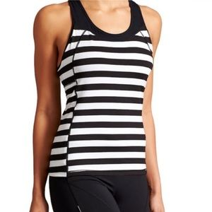 Athlete workout tank with built in bra striped